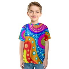 Abstract Pattern Painting Shapes Kids  Sport Mesh Tee