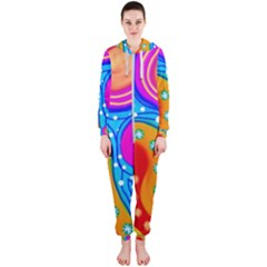 Abstract Pattern Painting Shapes Hooded Jumpsuit (ladies)