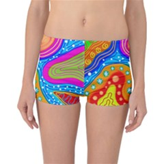 Abstract Pattern Painting Shapes Reversible Boyleg Bikini Bottoms