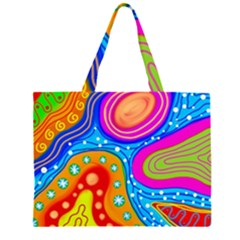 Abstract Pattern Painting Shapes Zipper Large Tote Bag