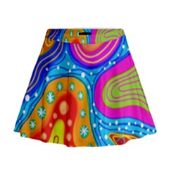 Abstract Pattern Painting Shapes Mini Flare Skirt