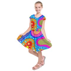 Abstract Pattern Painting Shapes Kids  Short Sleeve Dress