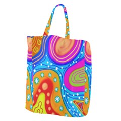 Abstract Pattern Painting Shapes Giant Grocery Zipper Tote
