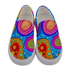Abstract Pattern Painting Shapes Women s Canvas Slip Ons