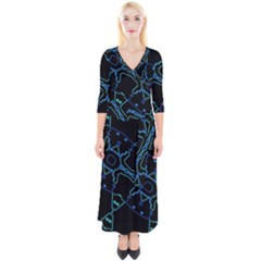 Warp Quarter Sleeve Wrap Maxi Dress
