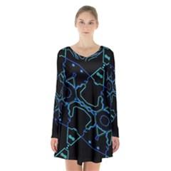 Warp Long Sleeve Velvet V Neck Dress