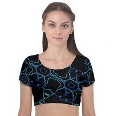 Warp Velvet Short Sleeve Crop Top