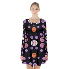Planet Say Ten Long Sleeve Velvet V Neck Dress