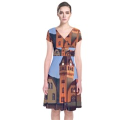Blue Hour Colliery House Short Sleeve Front Wrap Dress