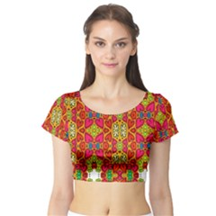 Abstract Background Pattern Doodle Short Sleeve Crop Top