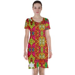 Abstract Background Pattern Doodle Short Sleeve Nightdress