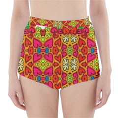 Abstract Background Pattern Doodle High Waisted Bikini Bottoms
