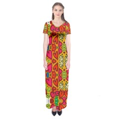 Abstract Background Pattern Doodle Short Sleeve Maxi Dress