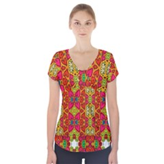 Abstract Background Pattern Doodle Short Sleeve Front Detail Top