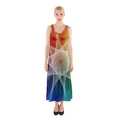 Abstract Star Pattern Structure Sleeveless Maxi Dress