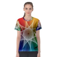 Abstract Star Pattern Structure Women s Sport Mesh Tee