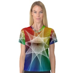 Abstract Star Pattern Structure V Neck Sport Mesh Tee