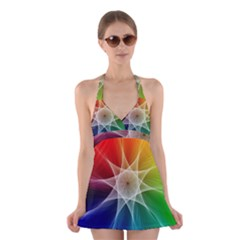 Abstract Star Pattern Structure Halter Dress Swimsuit