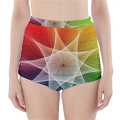 Abstract Star Pattern Structure High Waisted Bikini Bottoms