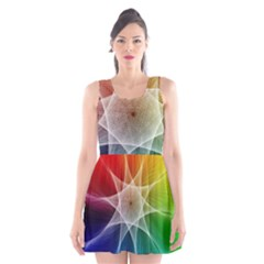 Abstract Star Pattern Structure Scoop Neck Skater Dress