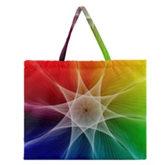 Abstract Star Pattern Structure Zipper Large Tote Bag