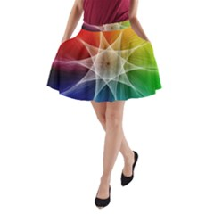 Abstract Star Pattern Structure A Line Pocket Skirt