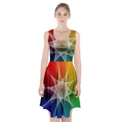 Abstract Star Pattern Structure Racerback Midi Dress