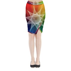 Abstract Star Pattern Structure Midi Wrap Pencil Skirt