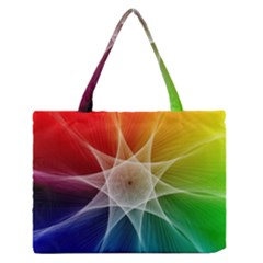 Abstract Star Pattern Structure Zipper Medium Tote Bag