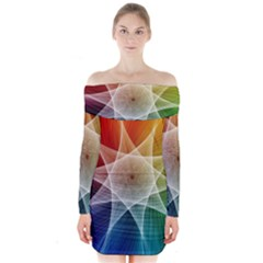 Abstract Star Pattern Structure Long Sleeve Off Shoulder Dress
