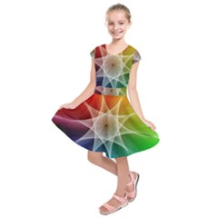 Abstract Star Pattern Structure Kids  Short Sleeve Dress
