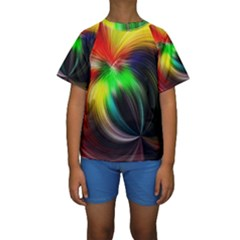 Circle Lines Wave Star Abstract Kids  Short Sleeve Swimwear