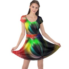 Circle Lines Wave Star Abstract Cap Sleeve Dress