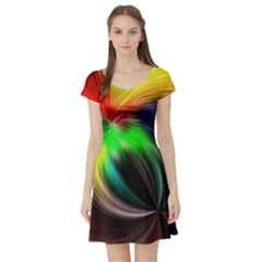 Circle Lines Wave Star Abstract Short Sleeve Skater Dress