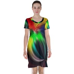 Circle Lines Wave Star Abstract Short Sleeve Nightdress