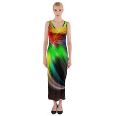 Circle Lines Wave Star Abstract Fitted Maxi Dress