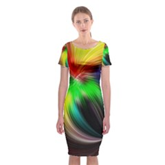 Circle Lines Wave Star Abstract Classic Short Sleeve Midi Dress