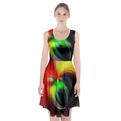 Circle Lines Wave Star Abstract Racerback Midi Dress