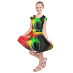 Circle Lines Wave Star Abstract Kids  Short Sleeve Dress