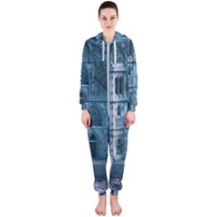 Church Stone Rock Building Hooded Jumpsuit (ladies)