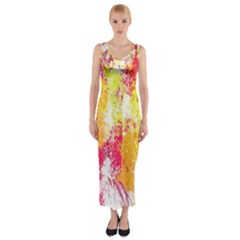 Painting Spray Brush Paint Fitted Maxi Dress