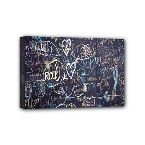 Graffiti Chalkboard Blackboard Love Mini Canvas 6  X 4
