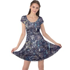 Graffiti Chalkboard Blackboard Love Cap Sleeve Dress