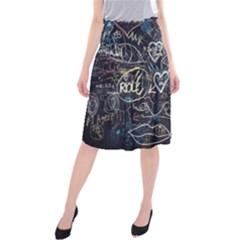 Graffiti Chalkboard Blackboard Love Midi Beach Skirt