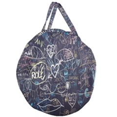 Graffiti Chalkboard Blackboard Love Giant Round Zipper Tote