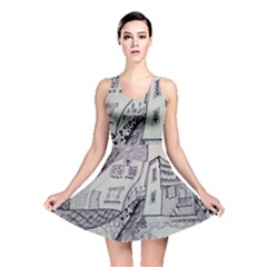 Doodle Drawing Texture Style Reversible Skater Dress
