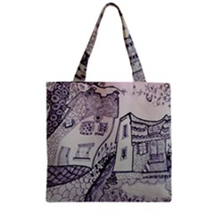 Doodle Drawing Texture Style Zipper Grocery Tote Bag