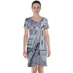 Doodle Drawing Texture Style Short Sleeve Nightdress