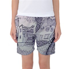 Doodle Drawing Texture Style Women s Basketball Shorts