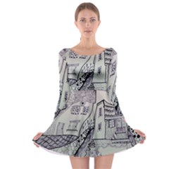 Doodle Drawing Texture Style Long Sleeve Skater Dress